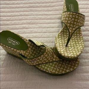Coach green and white platform sandals